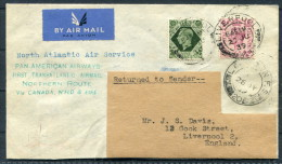 1939 GB Liverpool North Atlantic Air Service Pan American Flight Cover - Northern Route Canada Botwood Newfoundland Eire - 1902-1951 (Kings)