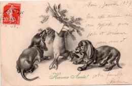 """Cpa  Illustre """" M.m.vienne """" Chiens Teckels Et Lapin.."""" Heureuse Annee """" - Vienne"""