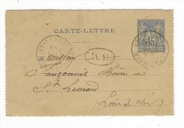 ENTIER  POSTAL  ( Cachet BM ) /  CARTE-LETTRE  15 Ct. BLEU  Type  SAGE  ( à Mr Le Maire De Saint-Léonard, Loir-et-Cher )