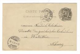 ENTIER  POSTAL / CARTE POSTALE  10 Ct. GRIS  Type  SAGE ( Cachets BELFORT-Fg-de-FRANCE + WINTERTHUR  En 1894 )