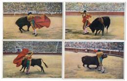 Corrida De Toros Bull Fight L Roisin 4 Tarjetas Postales Ca1900 Vintage Original Postcard Cpa Ak (W3_3267) - Corridas