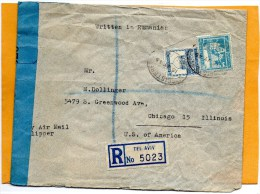 Palestine 1945 Censored Registered Cover Mailed To USA - Palestine