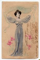 Firstname ELVIRA Carte Postale Art Nouveau Woman Photo Vintage Original Postcard Cpa Ak (W3_3357) - Vornamen