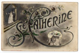 Firstname Catherine Santa Caterina Carte Postale Art Nouveau Woman Photo Vintage Original Postcard Cpa Ak (W3_3358) - Vornamen