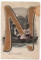 Firstname Initial Letter N Victorian Carte Postale Photo Vintage Original Postcard Cpa Ak (W3_3363) - Vornamen