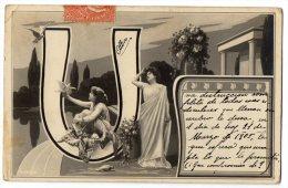 Firstname Initial Letter U Victorian Carte Postale Photo Vintage Original Postcard Cpa Ak (W3_3364) - Vornamen