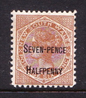 New South Wales 1891 Surcharges 7 Penny On 6d Brown Mint - 1850-1906 New South Wales