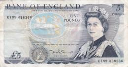 Grande-Bretagne - Billet De 5 Pounds - Elizabeth II & Duc De Wellington - 1 Pound
