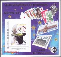 CNEP N° 63 De 2013 - Bloc Autoadhésif ( ___ A ) - Salon De Printemps MACON  - La MAGIE - Cartes, Lapin, Colombe, Chapeau - CNEP