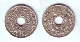 French Indochina 5 Cents 1938 - Viêt-Nam