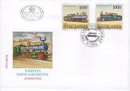 YUGOSLAVIA 1992 Steam Locomotives On 3 FDCs.  Michel 2548-53 - FDC