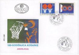 YUGOSLAVIA 1991 Basketball Centenary.FDC.  Michel 2484-85 - FDC