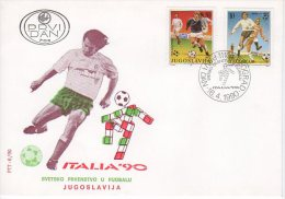 YUGOSLAVIA 1990 Football World Cup FDC.  Michel 2412-13 - FDC