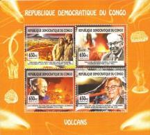 cdr12141a R.D. Congo 2012 Volcanos Dinosaur s/s Mineral