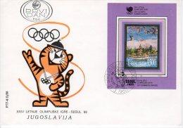 YUGOSLAVIA 1988 Olympic Games: Seoul  Block FDC.  Michel Block 32 - FDC