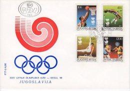 YUGOSLAVIA 1988 Olympic Games: Seoul  FDC.  Michel 2267-70 - FDC