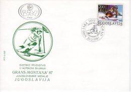 YUGOSLAVIA 1987 Skiing Medal Winner FDC.  Michel 2215 - FDC