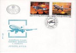YUGOSLAVIA 1987 Civil Aviation FDC.  Michel 2213-14 - FDC