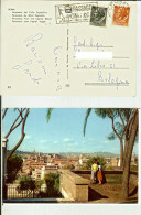 "Roma: Panorama Dal Colle Capitolino. Cartolina Viagg. 1959 Timbro Targhetta ""Passaggio A Hong Kong"" (film Cinema"