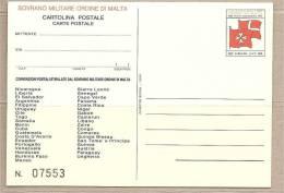 SMOM - Cartolina Postale Nuova: Convenzioni Postali Con L´Ordine - 1991 - Malte (Ordre De)