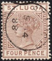 St Lucia  1886  SG39  CrownCA  P14 Die I  1d Dull Mauve    Cds Used - St.Lucia (...-1978)