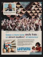 Pub Papier 1965 Alimentation Pates LUSTUCRU élevage Avicole De Charols Drôme Mme Marcel Dupuy Poule Coq - Publicités