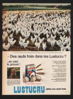 Pub Papier 1965 Alimentation Pates LUSTUCRU élevage Avicole De Cliousclat Drôme  Poule Coq - Publicités