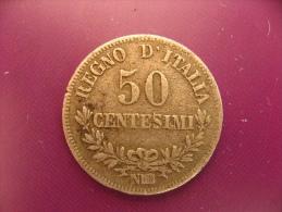 Italie - Argent - 50 Centesimi 1867 - Vittorio Emanuele II - TB - 1861-1878 : Victor Emmanuel II.