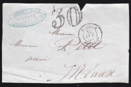 Algérie - Devant De Lettre Taxée - 1858? Oblitération Blidah Algérie Pour Meaux - Postmark Collection (Covers)