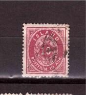 ICELAND 1876  Coat Of Arm 10 Aur  Michel Cat N° 8A Used Defectous - Oblitérés