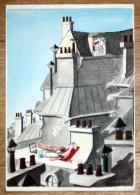 Affiche Poster Par Sempé 23 X 16 Cm Calendrier Aout 1961 Humour Bronzage Sur Les Toits à Paris - Affiches