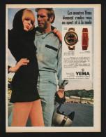 Pub Papier 1969 Montres YEMA Course Pilote Femme Pin Up - Publicités