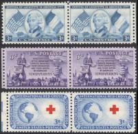 United States,  3 Pairs 1952, Sc # 1010,1015,1016, Mi # 629,634,635, MNH - United States