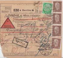 DR Paketkarte Mif Minr.4x 420,468 Berlin 25.5.34 Gel. Nach Belgien - Deutschland