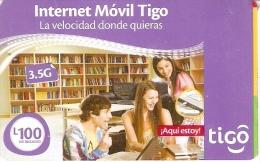 TARJETA DE HONDURAS DE 100 LEMPIRAS DE TIGO INTERNET MOVIL (numeros Código Grandes) - Honduras