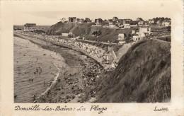 Thematiques 50 Manche Donville Les Bains La Plage Cp Dentelée Lucien Ecrite Timbrée 27 07 1953 - Francia