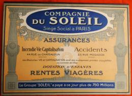 Publicité Cartonnée -  COMPAGNIE DU SOLEIL  ASSURANCES PARIS  - 1925  Calendrier PERPETUEL  - SUPERBE - Paperboard Signs