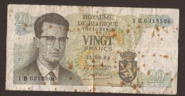 België Belgique Belgium 15 06 1964 20 Francs Atomium Baudouin. 1 B 6318506 - [ 6] Treasury