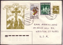 January 13 Postal Stationery Nice Franking 1994 Lithuania Used Cover Sent To USA #4350 - Lithuania