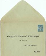 """BR38Z-ENVELOPPE SAGE 15c REPIQUAGE """" COMPTOIR NATIONAL D'ESCOMPTE"""" NEUVE TB - Entiers Postaux"""