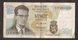 België Belgique Belgium 15 06 1964 20 Francs Atomium Baudouin. 1 T 2645265 - [ 6] Treasury