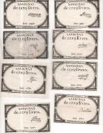 LOT DE 99 ASSIGNATS DE CINQ LIVRES  SIGNATURES DIFFERENTES  VOIR LES SCANS