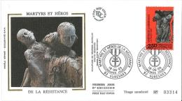 Enveloppe FDC Soie - Martyrs Et Héros De La Résistance - Suresnes - 1993 - FDC