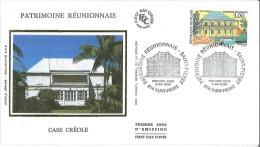 Enveloppe FDC Soie - Patrimoine Réunionnais - Case Créole - Saint Pierre - 1998 - FDC