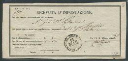 1847   RARA  RICEVUTA  D'IMPOSTAZIONE  DI  CASTIGLIONE DELLE STIVIERE      MANTOVA - Italia