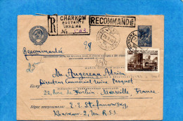 MARCOPHILIE-lettreREC-entier Postal  Aviatrice +complément Afft  N°1184 Cad 1948-  -pour Françe - 1923-1991 USSR