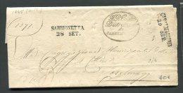 1845  RARA   PREFILATELICA  DA  SABBIONETA  MANTOVA  X CASALMAGGIORE - 1. ...-1850 Prefilatelia