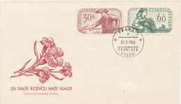 Czechoslovakia / First Day Cover (1960/07), Praha 3 (a) - Theme: General Election (metallurgist, Harvest Grain, Flower) - Factories & Industries