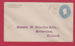 USA //  ENTIER POSTAL  //  DE WILMINGTON //  POUR ROTTERDAM  //  27 DEC 1887