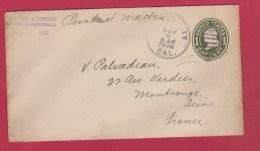 USA //  ENTIER POSTAL  //  DE TUISUN //  POUR MONTROUGE  //  NOV 1908